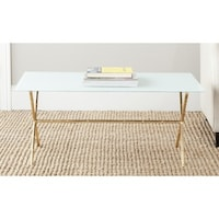 StyleCraft Drawer White Lacquer Coffee Table Antique Gold Frame - White coffee table with gold legs
