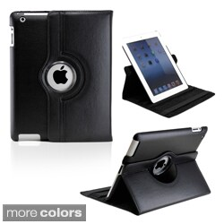 Gearonic Rotating Dual Layer Leather iPad Case with Smart Cover (Option: Purple)