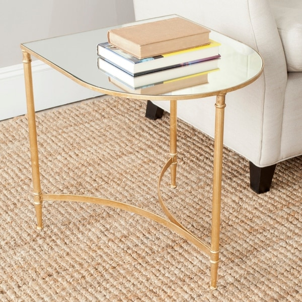 "SAFAVIEH Treasures Nevin Gold/ Mirror Top Accent Table - 19.9"" x 17.9"" x 20"". Opens flyout."