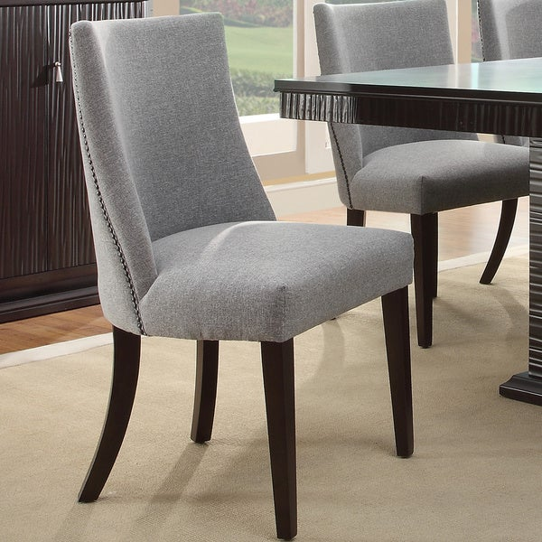 Tribecca Home Dominic Grey Curved Nailhead Upholstered
