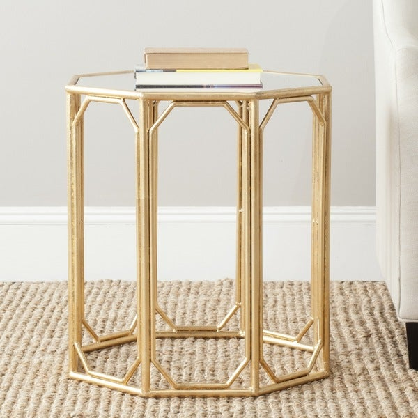 shop safavieh treasures muriel gold mirror top accent table free shipping today overstock. Black Bedroom Furniture Sets. Home Design Ideas