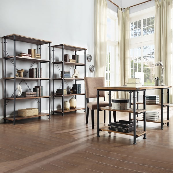 Myra Vintage Industrial Modern 3-piece Desk and 40-inch Bookcase Set by TRIBECCA HOME