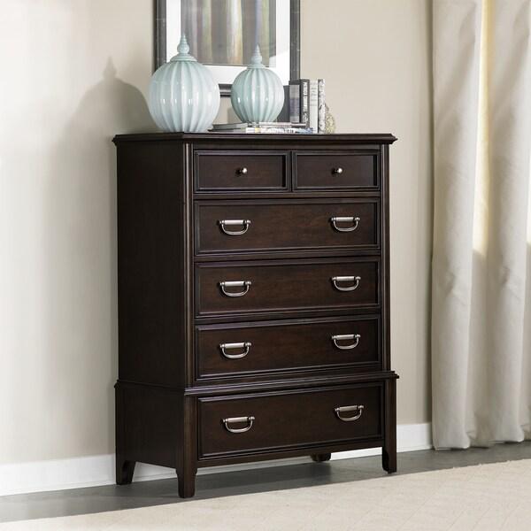 Isabel Dark Cherry Brown Modern Transitional 6-drawer Chest