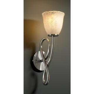 Justice Design Group 1-light Rippled Rim Whitewash Tulip Brushed Nickel Wall Sconce