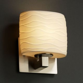 Justice Design Group Limoges Modular 1-light Brushed Nickel ADA Wall Sconce, Waves Oval Shade
