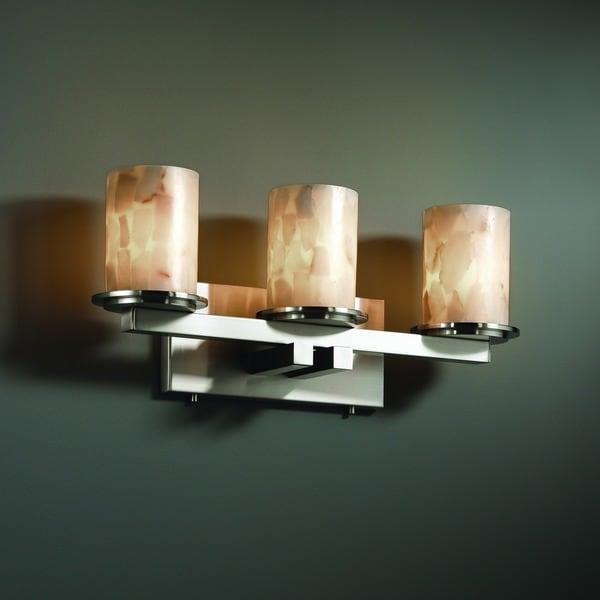 Justice Design Group Alabaster Rocks Dakota 3 Light Brushed Nickel Bath Bar Cylinder