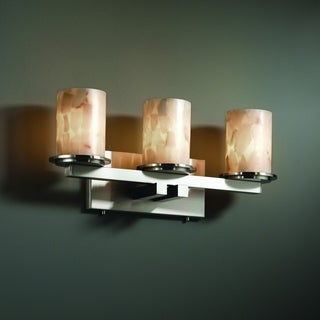 Justice Design Group 3-light Flat Rim Cylinder Alabaster Rocks Bath Bar Fixture