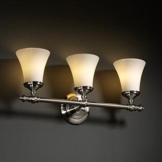 Justice Design Group 3-light Round Flared Opal Brushed Nickel Bath Bar Fixture