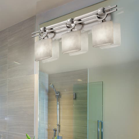 Clouds Argyle 3-light Brushed Nickel Bath Bar, Clouds Oval Shade