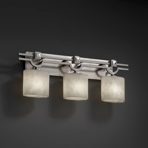 Justice Design Group Clouds Argyle 3-light Brushed Nickel Bath Bar, Clouds Oval Shade
