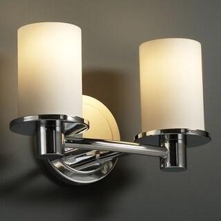 Justice Design Group Fusion Rondo 2-light Polished Chrome Bath Bar, Opal Cylinder - Flat Rim Shade