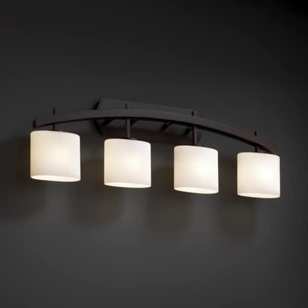 Shop justice design group fusion archway 4 light dark bronze bath bar opal oval shade free for Chapter 3 light bar bathroom light