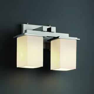 Justice Design Group 2-light Flat Rim Square Opal Bath Bar Fixture