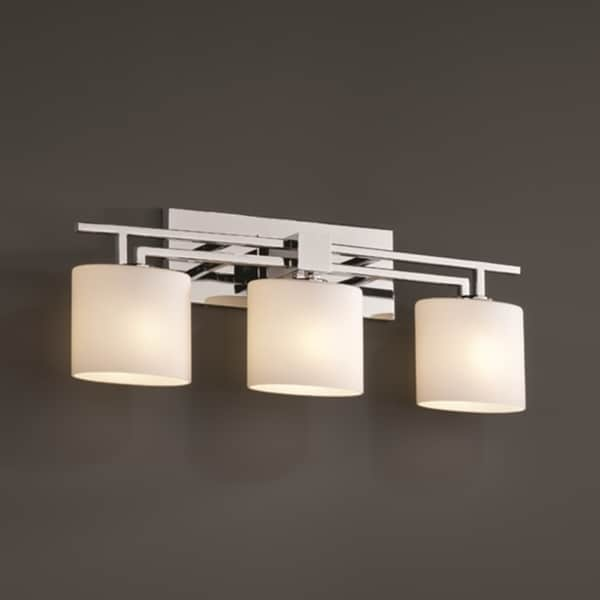 Justice Design Group 3 Light Opal Oval Polished Chrome Bath Bar Fixture 15277163 Overstock
