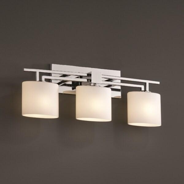 Justice Design Group Fusion Aero 3-light Polished Chrome Bath Bar, Opal Oval Shade
