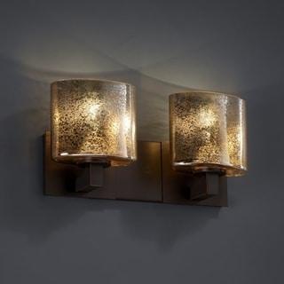 Justice Design Group 2-light Oval Mercury Glass Dark Bronze Bath Bar Fixture