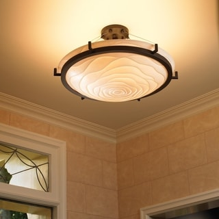 Justice Design Group 6-light Round Ring Waves Dark Bronze Semi-flush Fixture