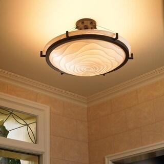 Justice Design Group Porcelina Ring 6-light Dark Bronze Round Bowl Semi-flush, Waves Shade