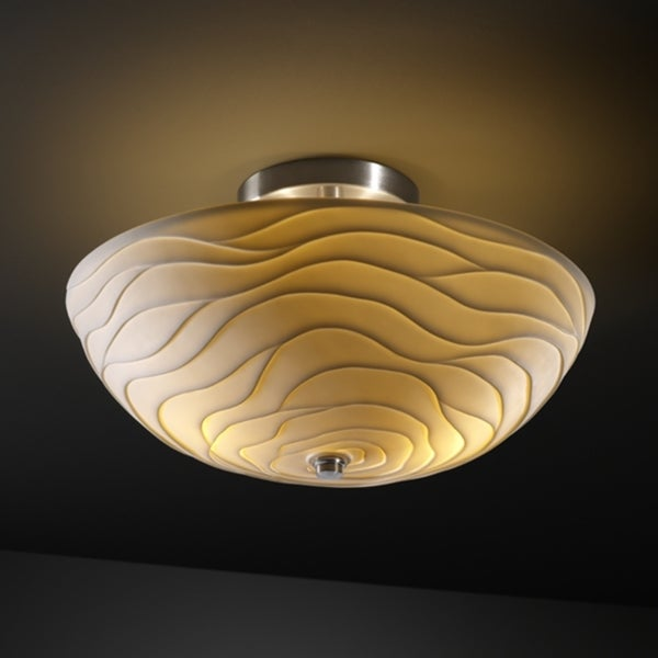Justice Design Group 2-light Round Wave Brushed Nickel Semi-flush Fixture