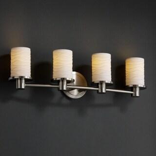 Justice Design Group Limoges Rondo 4-light Brushed Nickel Bath Bar, Waves Cylinder - Flat Rim Shade