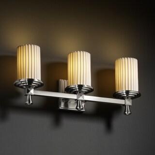 Justice Design Group 3-light Flat Rim Cylinder Pleated Bath Bar Fixture
