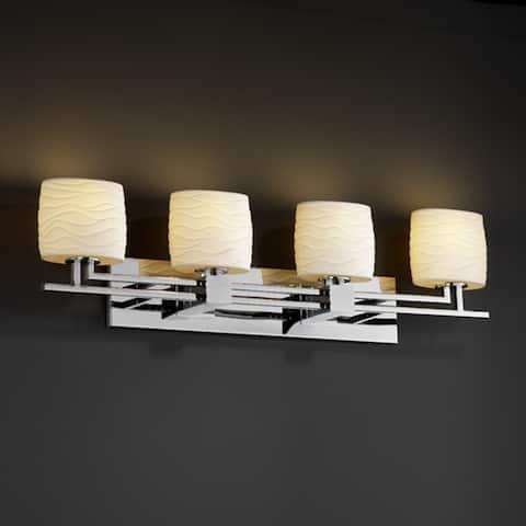 Justice Design Limoges Aero 4-light Polished Chrome Bath Bar, Waves Oval Shade