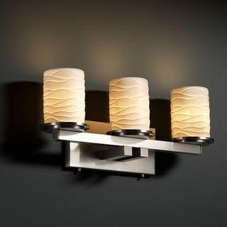 Justice Design Group Limoges Dakota 3-light Brushed Nickel Bath Bar, Brushed Nickel Cylinder - Flat Rim Shade