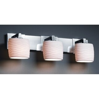 Justice Design Group Limoges Modular 3-light Polished Chrome Bath Bar, Waves Oval Shade