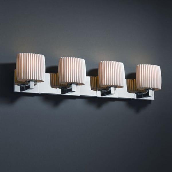 Justice Design Group 4-light Oval Pleats Polished Chrome Bath Bar Fixture