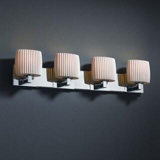 Justice Design Group Limoges Modular 4-light Polished Chrome Bath Bar, Pleats Oval Shade