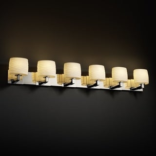 Justice Design Group 6-light Oval Waves Polished Chrome Bath Bar Fixture