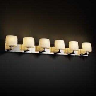 Justice Design Group Limoges Modular 6-light Polished Chrome Bath Bar, Waves Oval Shade