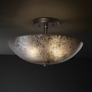 Justice Design Group Fusion 2-light Dark Bronze Round Bowl Semi-flush, Mercury Shade
