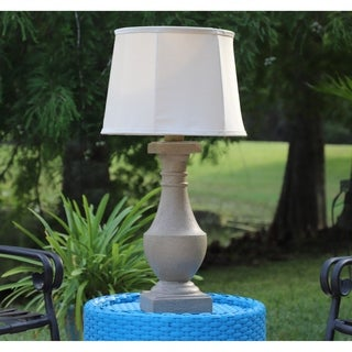 Fonyo 31-inch High With Coquina Finish And Cream Tappered Drum Outdoor Table Lamp