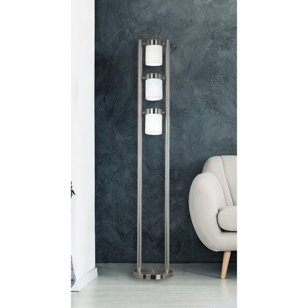 """Stelck 66"""" 3-Light Floor Lamp - Brushed Steel"""