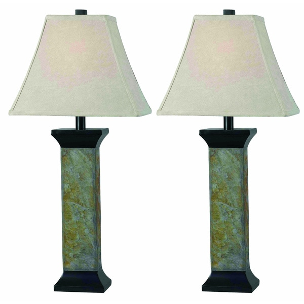 Holtz Natural Slate Finish Table Lamps (Set of 2)