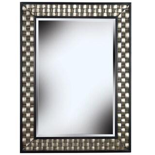 'Asper' Brushed Steel Frame Wall Mirror - Black
