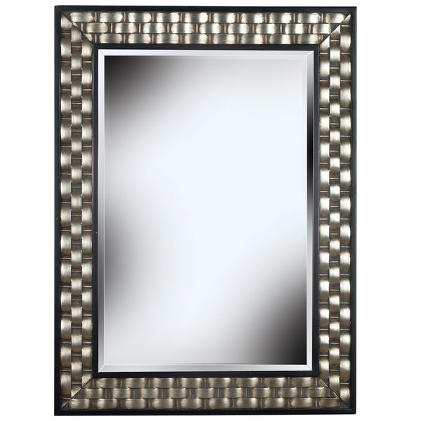 Asper\' Brushed Steel Frame Wall Mirror - Black - Free Shipping Today ...
