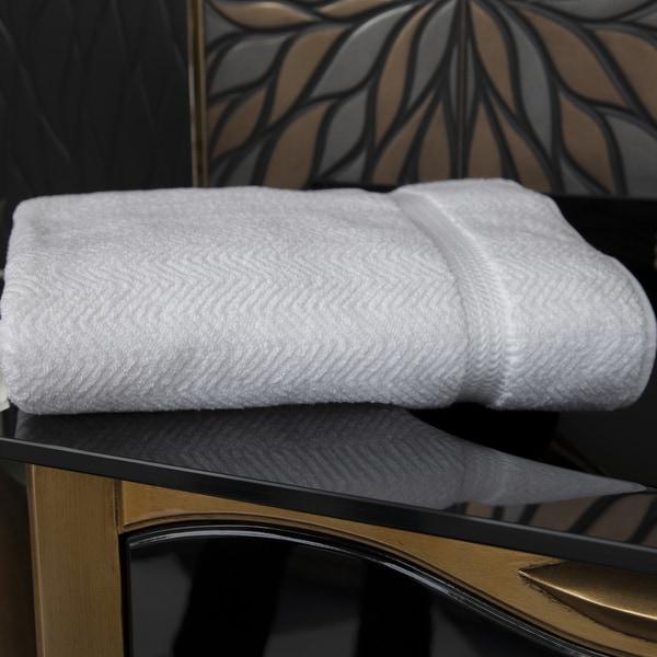 Authentic Plush Herringbone Weave Hotel and Spa Turkish Cotton White Bath Sheet