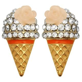 Kate Marie Goldtone Rhinestone Ice Cream Cone Earrings