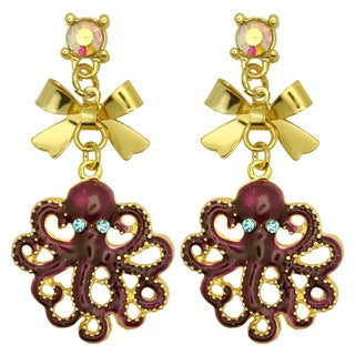 Kate Marie Goldtone Rhinestone Octopus Earrings