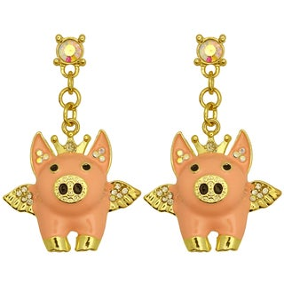 Kate Marie Goldtone Rhinestone Winged Pig Earrings