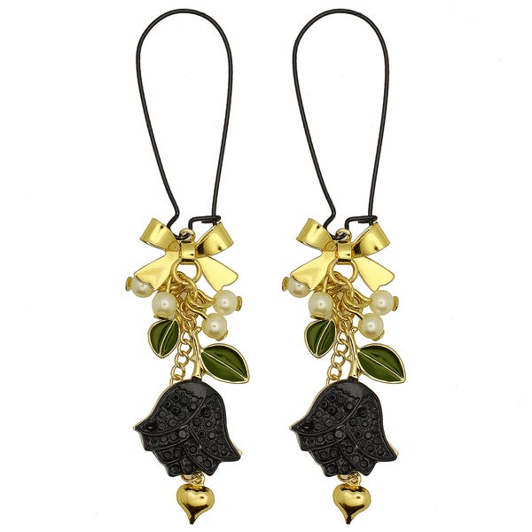 Kate Marie Goldtone Faux Pearl Flower Earrings