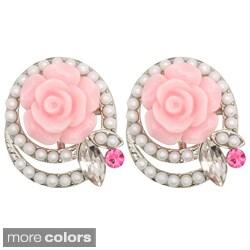 Kate Marie Silvertone Rhinestone and Faux-Pearl Rose-Design Acrylic Earrings