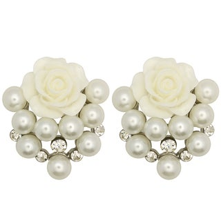 Kate Marie Silvertone Rhinestone and Faux Pearl Rose Design Earrings