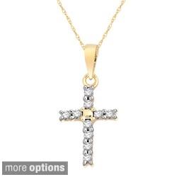 10k White, Yellow or Rose Gold 1/10ct TDW Diamond Cross Pendant Necklace (Option: Rose)