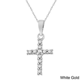 10k White, Yellow or Rose Gold 1/10ct TDW Diamond Cross Pendant Necklace
