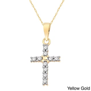 10k White, Yellow or Rose Gold 1/10ct TDW Diamond Cross Pendant Necklace (H-I, I2)