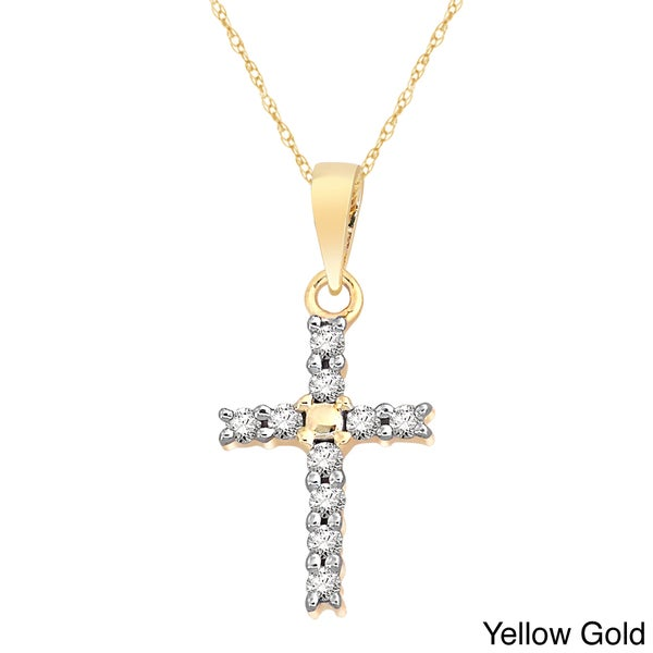 14k two tone gold crucifix necklace free shipping today overstock - 10k White Yellow Or Rose Gold 1 10ct Tdw Diamond Cross