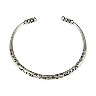 Handmade Karen Hill Tribe Fine Sterling Silver Serenity Cuff Bracelet (Thailand)